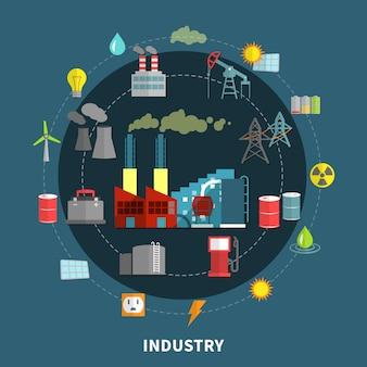Illustrazione vettoriale con elementi di industria