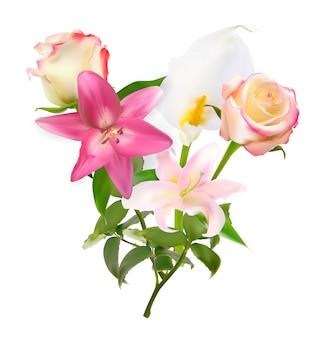 Illustrazione vettoriale con giglio rosa, calla e rose isolati