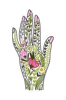 Illustrazione vettoriale con mano e fiori
