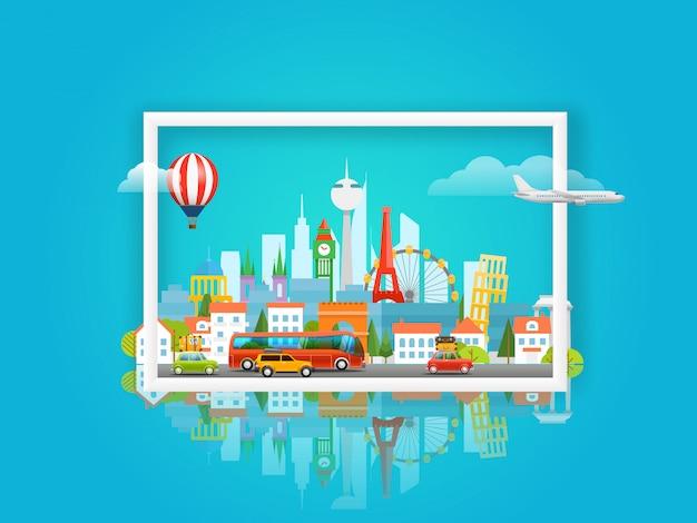 Illustrazione vettoriale con paesaggio urbano concetto di viaggio