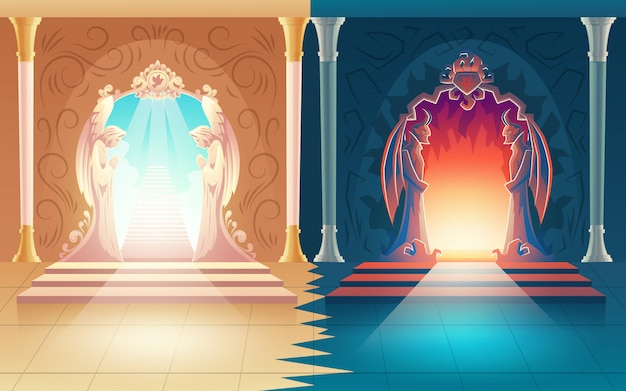 Illustrazione vettoriale con porte del paradiso e inferno