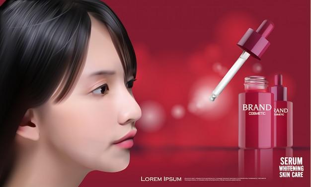 Illustrazione vettoriale con ragazza e contenitore di siero di collagene.