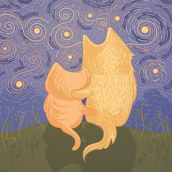Illustrazione vettoriale con simpatico cane e gatto che ammirano il cielo stellato notturno. modello per biglietto di auguri. illustrazione di amicizia.