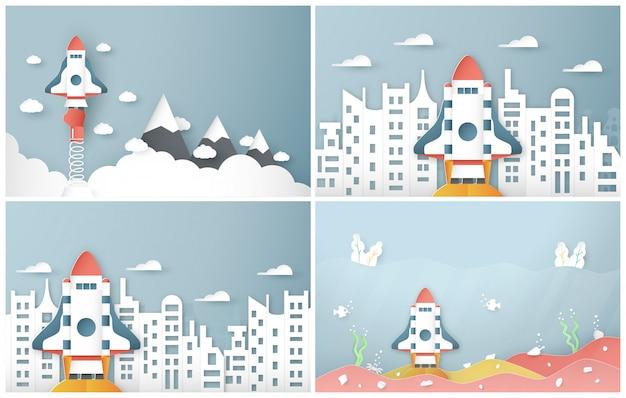 Illustrazione vettoriale con start up concetto.
