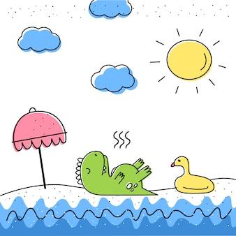 Illustrazione vettoriale con un dinosauro sulla spiaggia