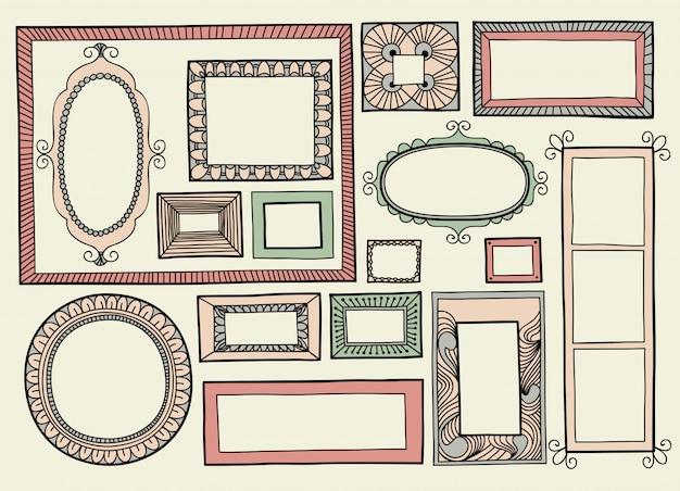 Illustrazione vettoriale con un set di cornici