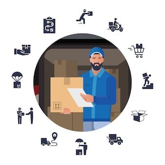 Illustrazione vettoriale con un set di icone sul tema della consegna con l'immagine