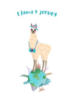 Illustrazione vettoriale con viaggiatore llama carino