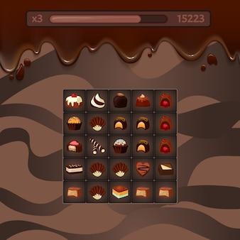 Illustrazione vettoriale concetto di tre in una fila gioco casuale mockup con caramelle di cioccolato, striature, punti vita e punteggio