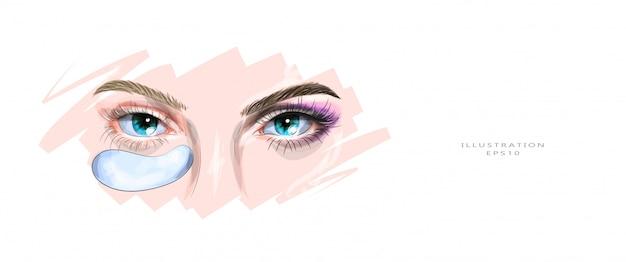 Illustrazione vettoriale cosmetologia e cura della pelle delle palpebre.