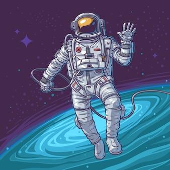 Illustrazione vettoriale cosmonauta