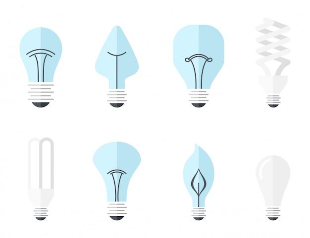 Illustrazione vettoriale dei principali tipi di illuminazione elettrica - lampadina ad incandescenza, lampada alogena, lampada a led. stile piatto