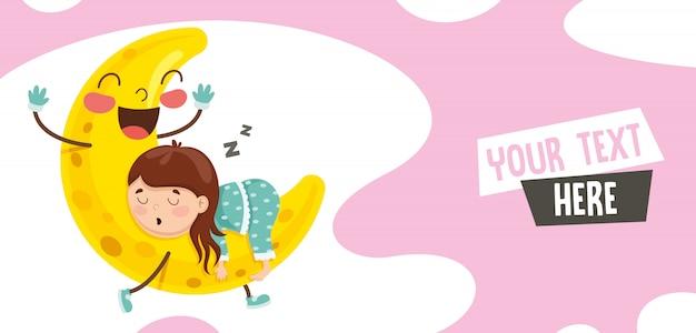Illustrazione vettoriale del bambino che dorme sulla luna