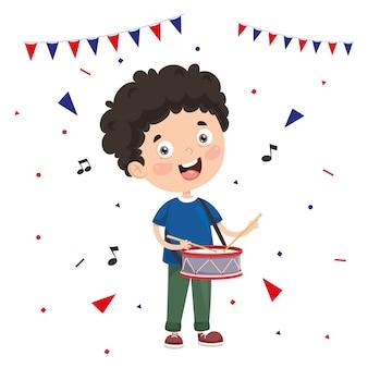 Illustrazione vettoriale del bambino che suona il tamburo