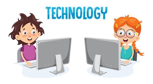 Illustrazione vettoriale del bambino con il computer