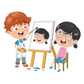 Illustrazione vettoriale del bambino dipinto il suo amico su tela