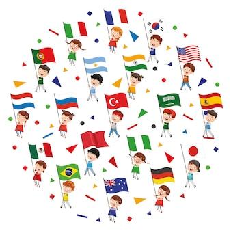 Illustrazione vettoriale del concetto di bandiere