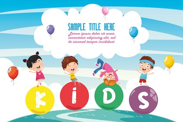 Illustrazione vettoriale del paesaggio colorato di bambini