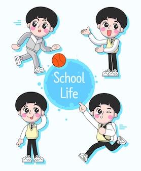 Illustrazione vettoriale del ragazzo di scuola