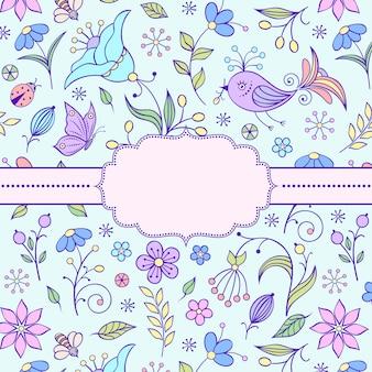 Illustrazione vettoriale del telaio con motivo floreale.