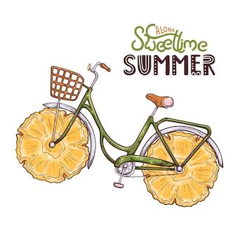 Illustrazione vettoriale della bicicletta con ananas invece di ruote. lettering: aloha sweet time summer.