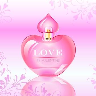 Illustrazione vettoriale della bottiglia di profumo di amore di giorno di san valentino