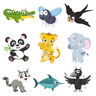Illustrazione vettoriale della collezione di animali dei cartoni animati
