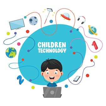 Illustrazione vettoriale della tecnologia dei bambini
