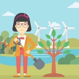 Illustrazione vettoriale di albero piante donna.
