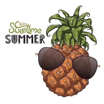 Illustrazione vettoriale di ananas. lettering: aloha sweet time summer.