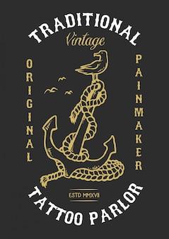Illustrazione vettoriale di anchor bird tattoo