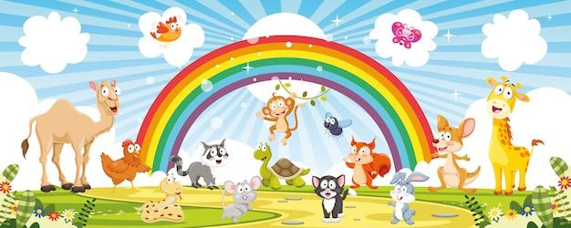 Illustrazione vettoriale di animali dei cartoni animati