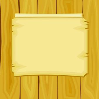 Illustrazione vettoriale di annuncio dei cartoni animati su tavole di legno
