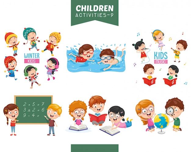 Illustrazione vettoriale di attività per bambini insieme