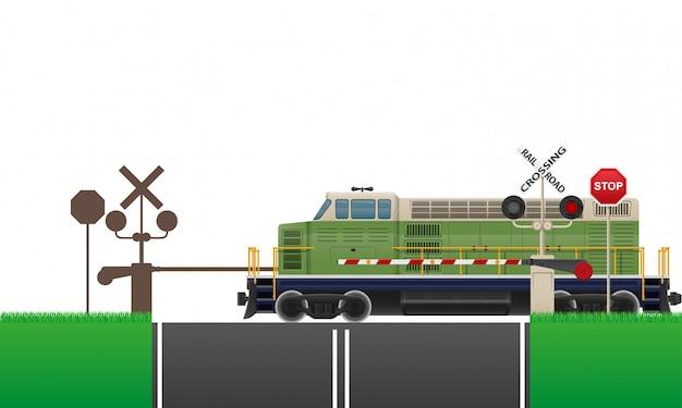 Illustrazione vettoriale di attraversamento della ferrovia