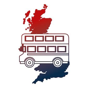 Illustrazione vettoriale di autobus a due piani mappa regno unito