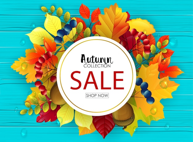 Illustrazione vettoriale di autunno vendita banner