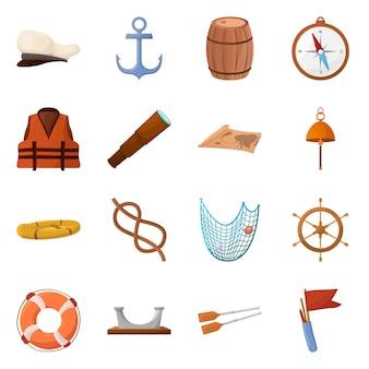 Illustrazione vettoriale di avventura e segno del mare. set di avventura e set da viaggio