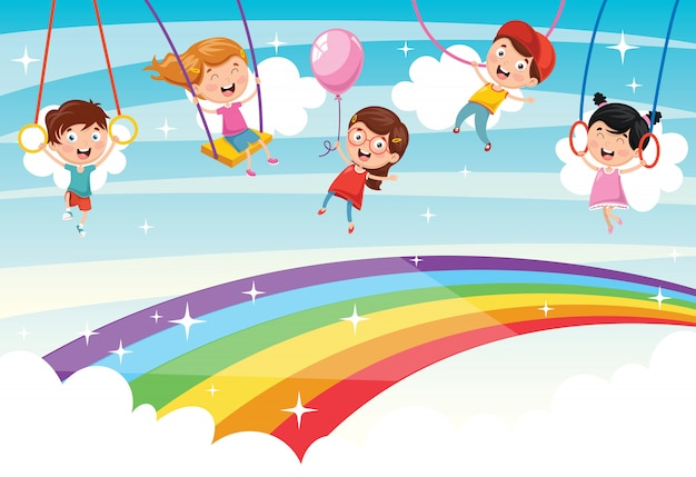 Illustrazione vettoriale di bambini arcobaleno