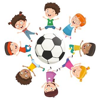 Illustrazione vettoriale di bambini che giocano intorno a una palla