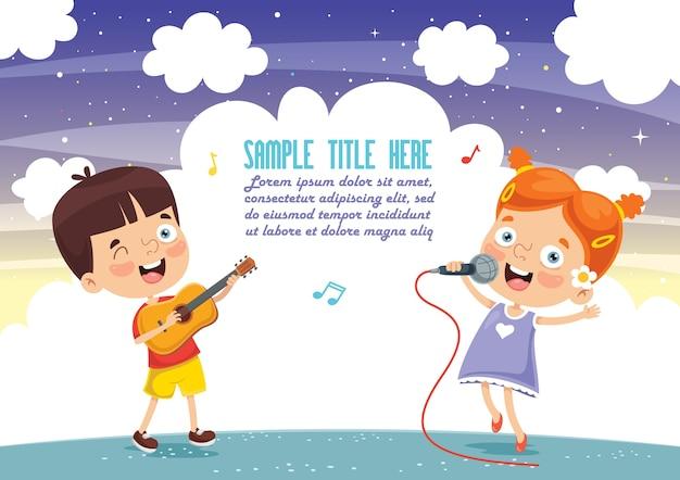 Illustrazione vettoriale di bambini che giocano musica