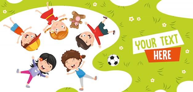 Illustrazione vettoriale di bambini che si trovano
