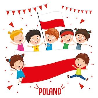 Illustrazione vettoriale di bambini che tengono la bandiera della polonia