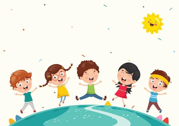 Illustrazione vettoriale di bambini divertenti che giocano all'esterno