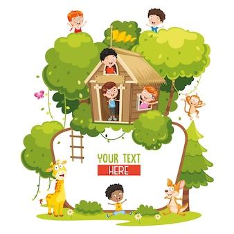 Illustrazione vettoriale di bambini e animali