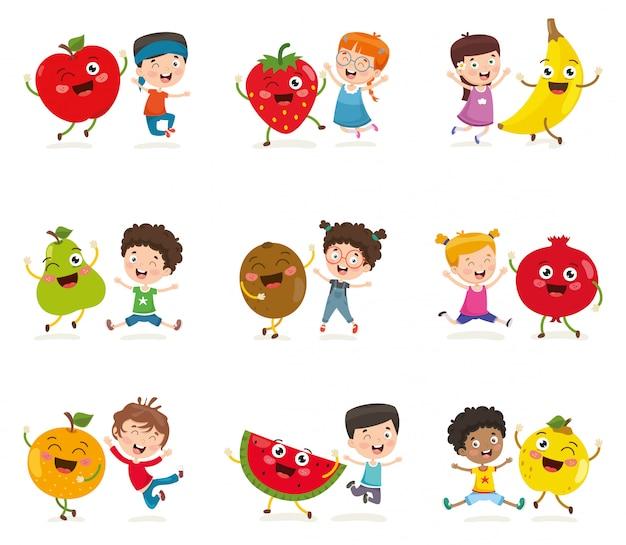 Illustrazione vettoriale di bambini e caratteri di frutta