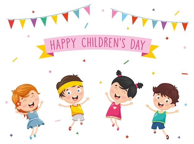 Illustrazione vettoriale di bambini felici