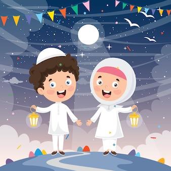Illustrazione vettoriale di bambini musulmani che celebra il ramadan