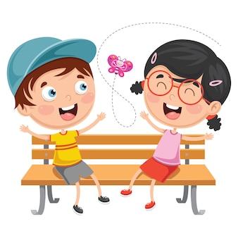 Illustrazione vettoriale di bambini seduti sulla panchina del parco