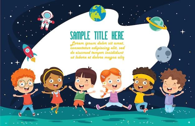Illustrazione vettoriale di bambini spaziali